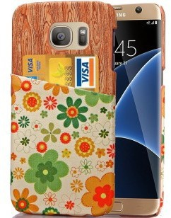 qMust Samsung Galaxy S7 edge Lederen Backcover - Green Flowers