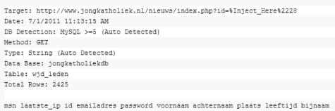 Screenshot begin database JongKatholiek