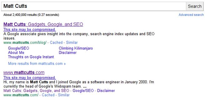 Google site-hack-notificatie