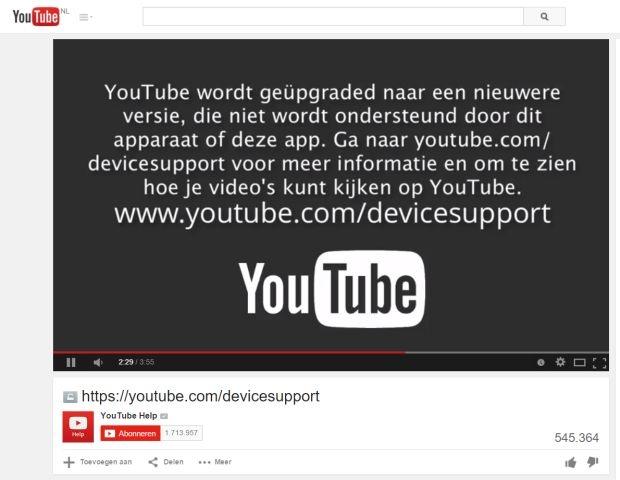 YouTube stopt ondersteuning oudere iPhones, iPads etc