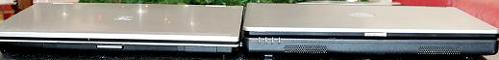 Links de HP EliteBook 8530p, rechts de precies even grote Dell Latitude L120