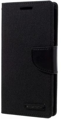 Mercury Canvas Diary Wallet Case voor Huawei P9 - Zwart Zwart