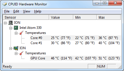 HWMonitor temperaturen (Idle - Nacht - Load)