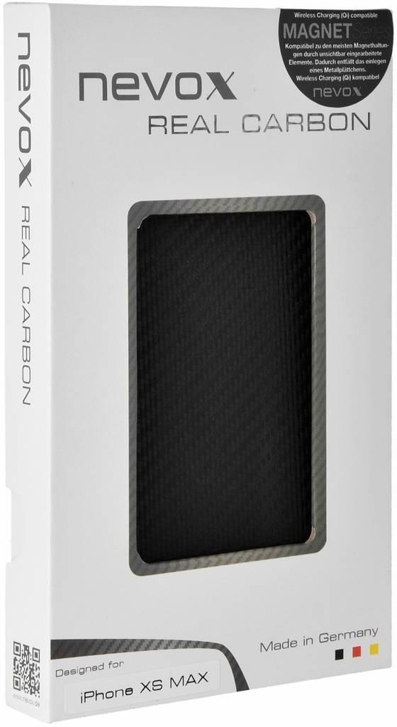 Nevox Originele Magnet Carbon Back Cover Hoesje voor de Apple iPhone XS Max - Zwart  Zwart