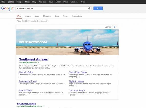 Banner van Southwest Airlines in Google
