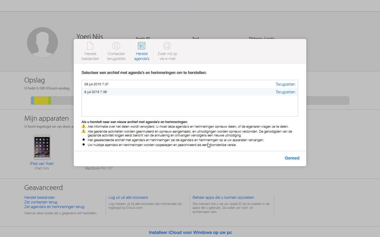 Herstelfunctie iCloud