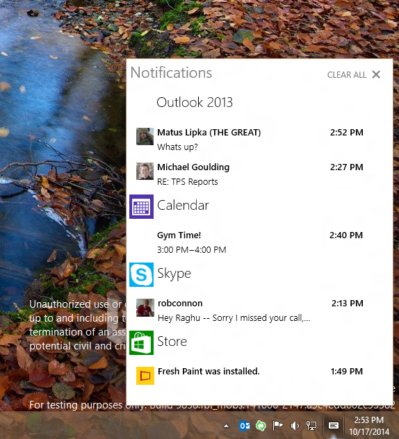 Action Center in Windows 10