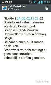 Screenshot NL-Alert bij brand Oosterhout