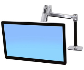 Ergotron LX HD Sit-Stand Desk Mount LCD Arm Polished Aluminum