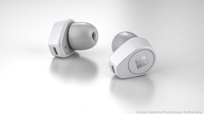 Door ontwerper gemaakte render Microsoft Surface Buds, niet het echte product. Bron: Thurrott.com
