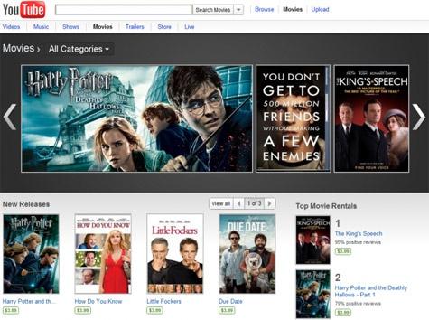 Youtube Movies uitbreiding filmaanbod met huurfilms