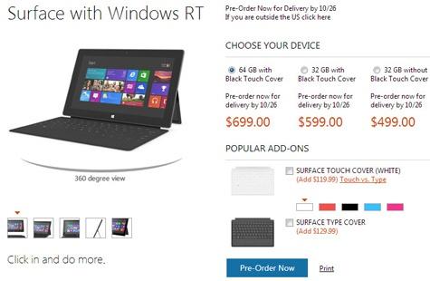 Microsoft Surface RT-prijzen