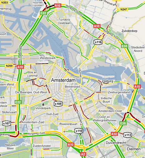Google Maps met live traffic