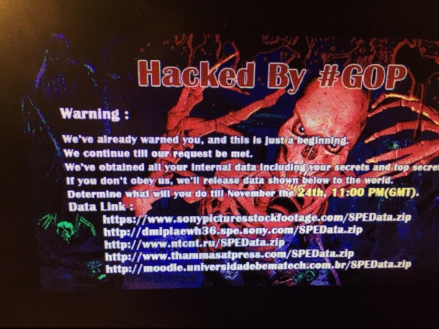 Sony Pictures hacked by #GOP