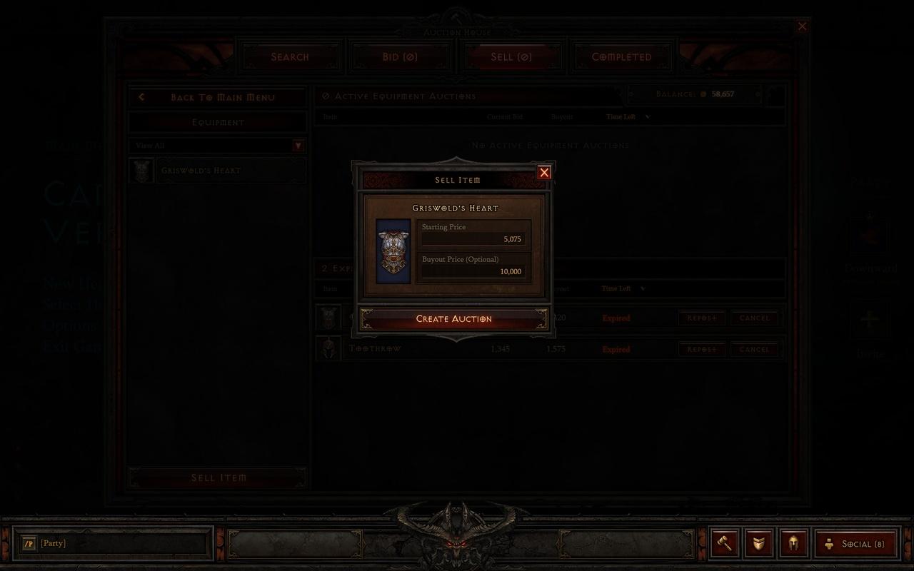 Diablo III - Auction House - Verkopen in Goud