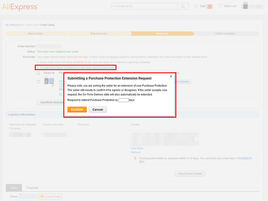 AliExpress Purchase Protection Extension Request