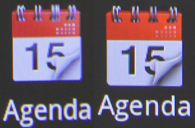Agenda-item op scherm Desire HD (links) en Sensation (rechts)