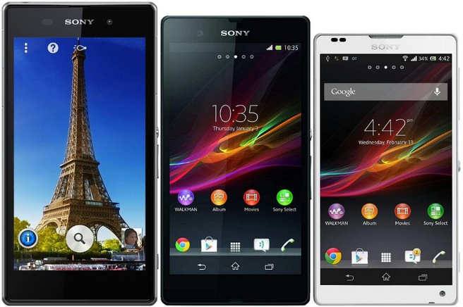 Sony Honami naast Xperia Z en Xperia ZL