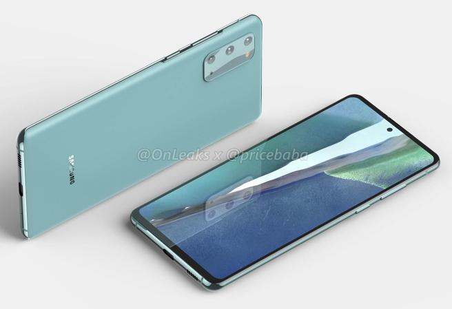 Samsung Galaxy S20 FE - Renders van @OnLeaks