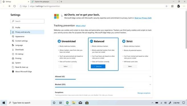 Microsoft Edge privacy dashboard