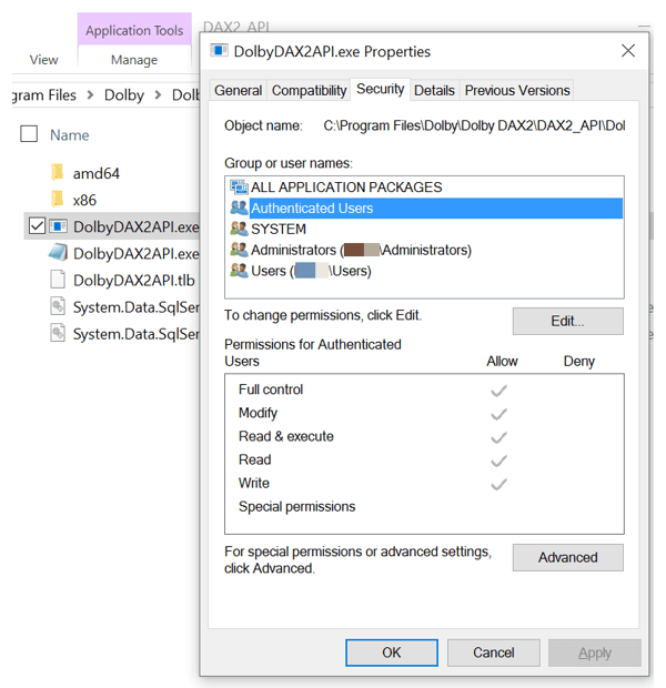dolby permissions
