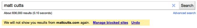 Google - blocked sites