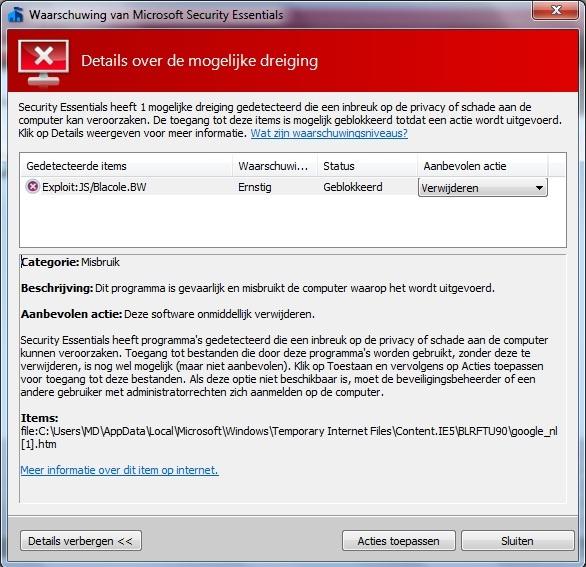 Microsoft zegt dat Google een virus heeft