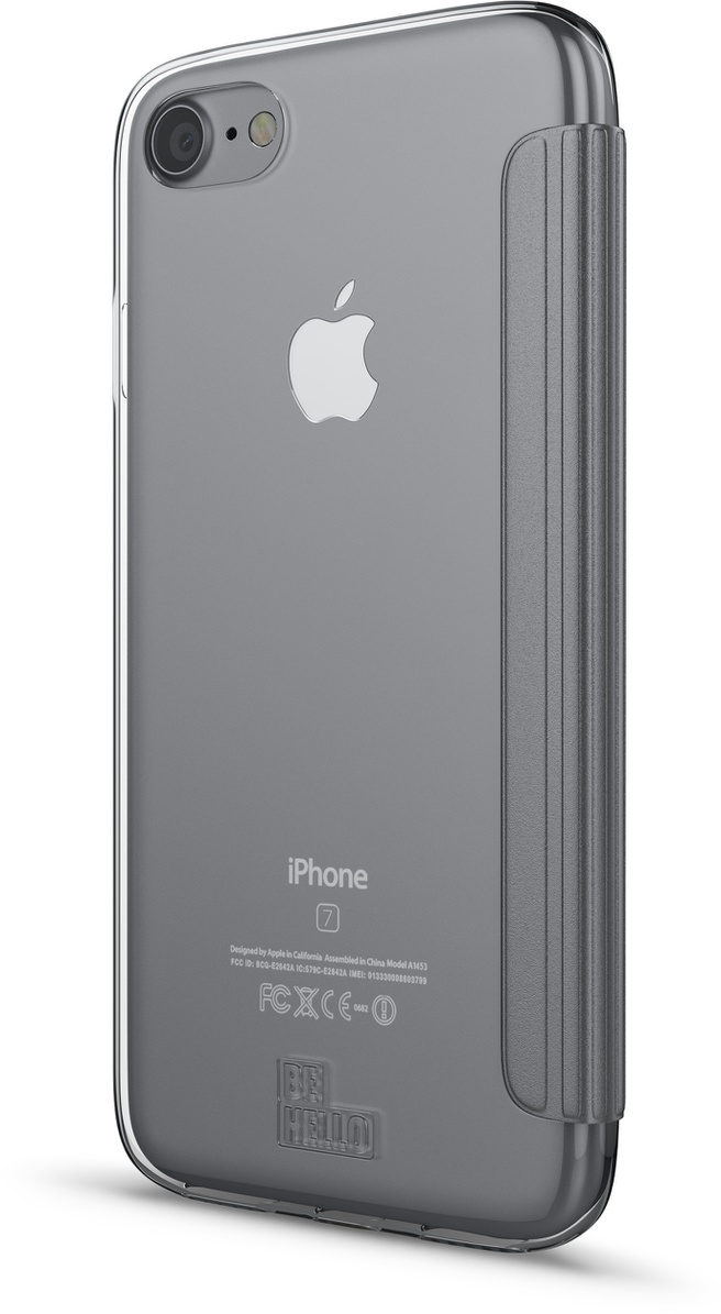 BeHello iPhone 7 Book Case with Tranparent Back 1 Cardslot Silver