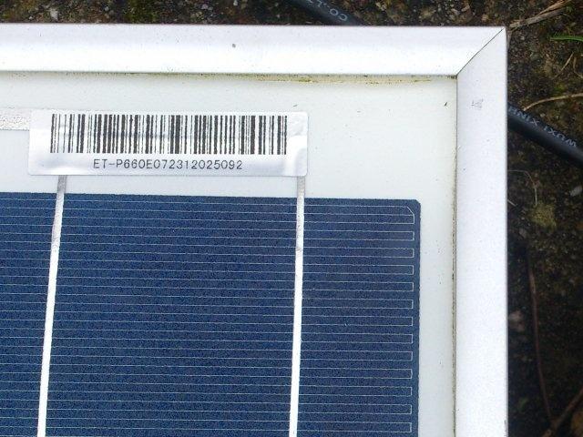 Barcode PV zonnepaneel
