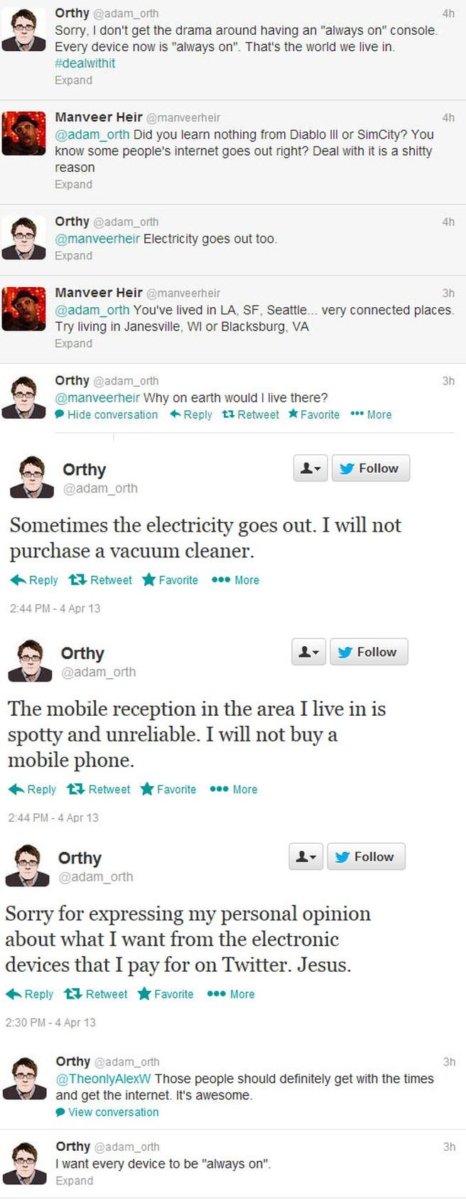 De tweets van Adam Orth onder elkaar geplat