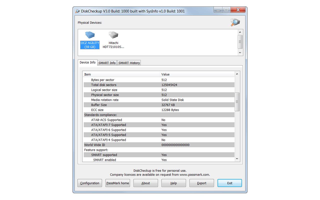 PassMark DiskCheckup screenshot