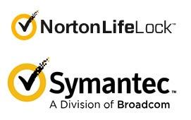 Logo's NortonLifeLock en Symantec