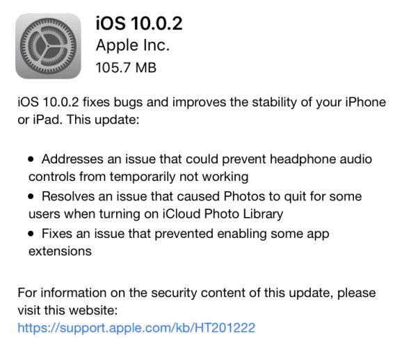 Apple iOS 10.0.2