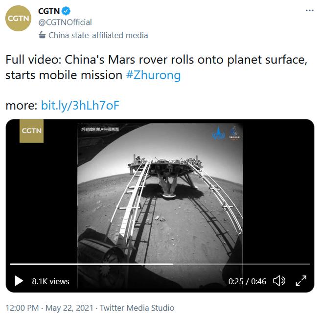 Zhurong van lander af video tweet