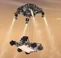 Space Crane om de Curiosity op Mars neer te zetten