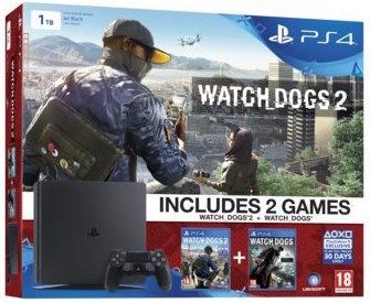 Sony PlayStation 4 Slim + Watch Dogs 1 en 2 Zwart