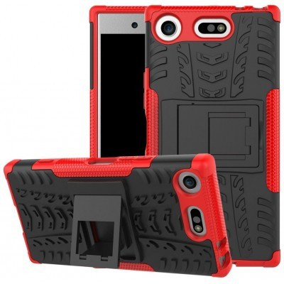 qMust Sony Xperia XZ1 Compact Rugged Hybrid Hoesje Rood