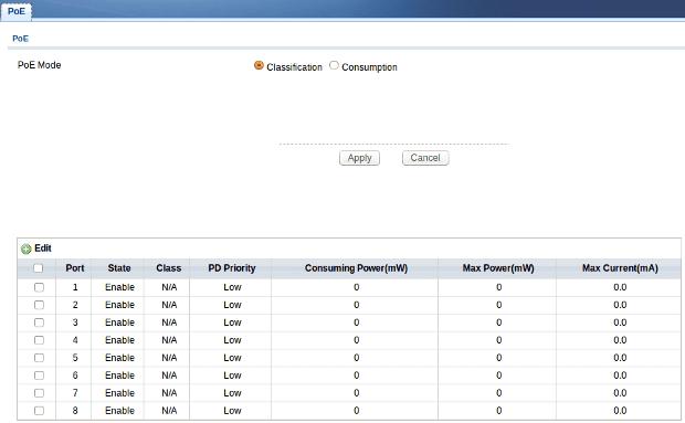 Web configurator - PoE
