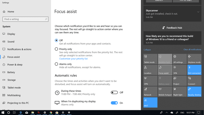 Windows 10 Spring Creators Update Focus Assist