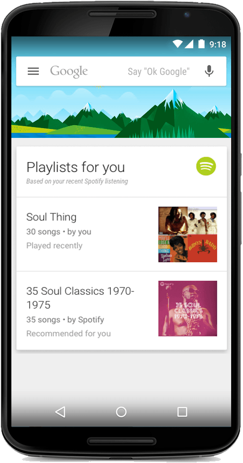 Spotify voor Google Now