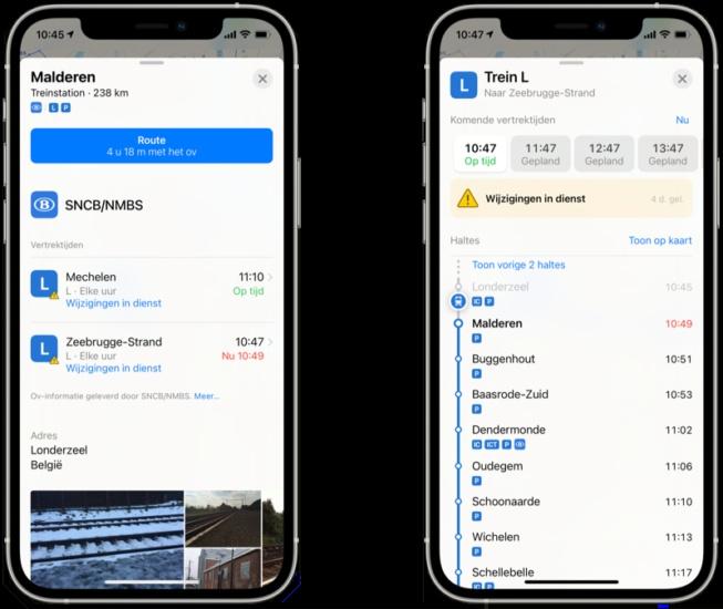 Apple Maps realtime ov-info via iCulture