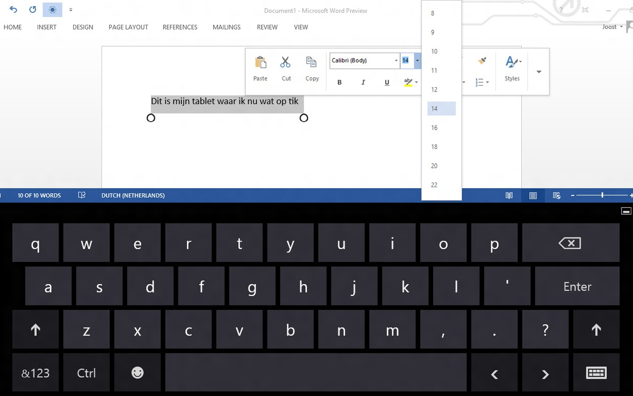 Microsoft Word 2013 - Tablet