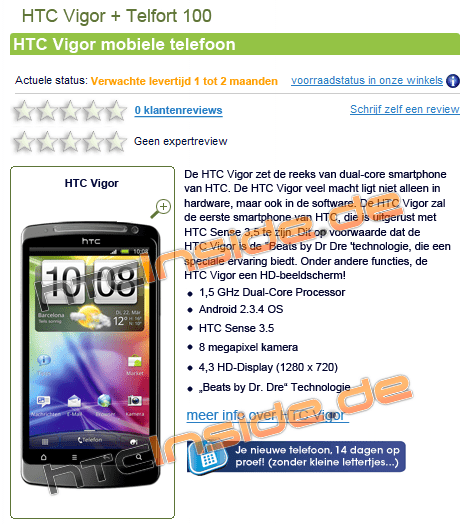 HTC Vigor op site Nederlandse retailer