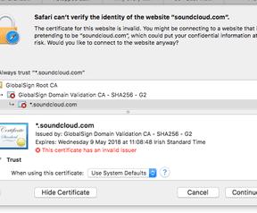 GlobalSign probleem 13 oktober 2016 Safari SoundCloud