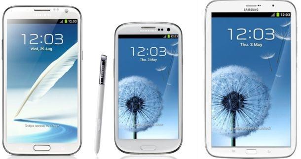 Mockup: Galaxy Mega 6.3 naast S III en Note II