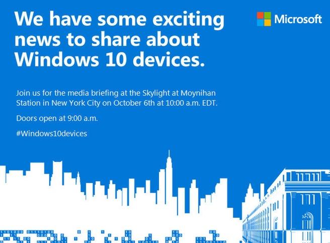 Windows 10 event 6 oktober 2015