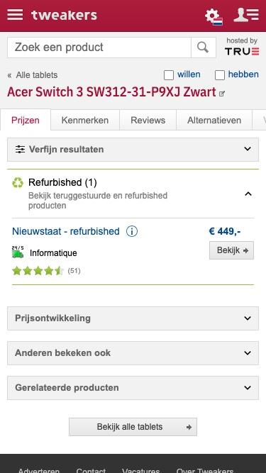 Refurbished pricelisting