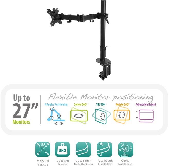 Ewent LCD bureausteun 13 - 27 inch, 1 scherm