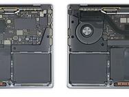 MacBook Pro met M1 (rechts) in MacBooks teardown, november 2020. Bron: iFixit