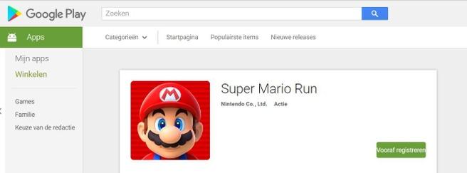 Super Mario Run in Play Store
